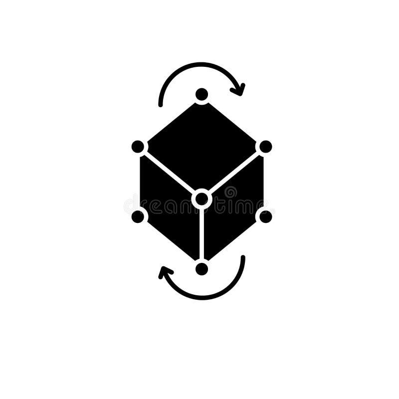 Icono del negro del pivote del modelo comercial, muestra del vector en fondo aislado Símbolo del concepto del pivote del modelo c ilustración del vector