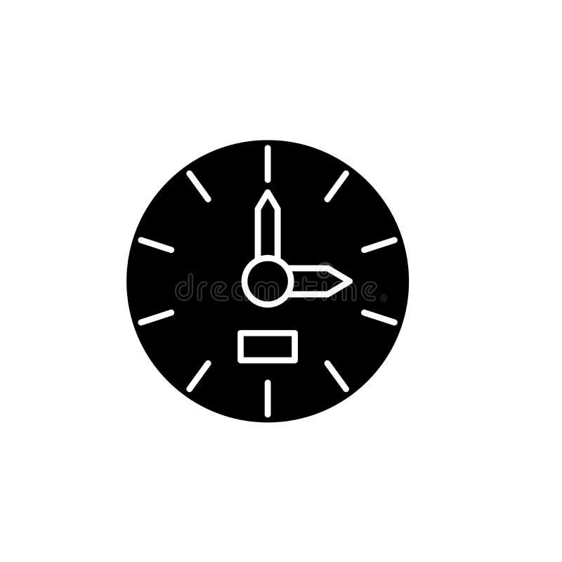 Icono del negro del reloj, muestra del vector en fondo aislado Símbolo del concepto del reloj, ejemplo libre illustration