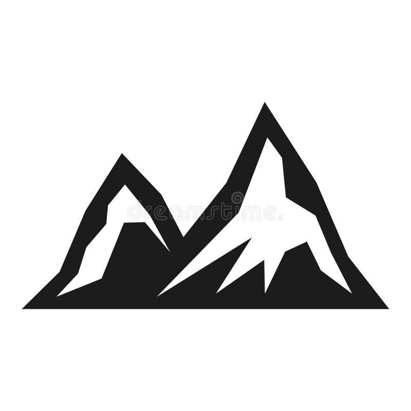 Icono del negro del turismo de la montaña, caminando la opinión del paisaje libre illustration