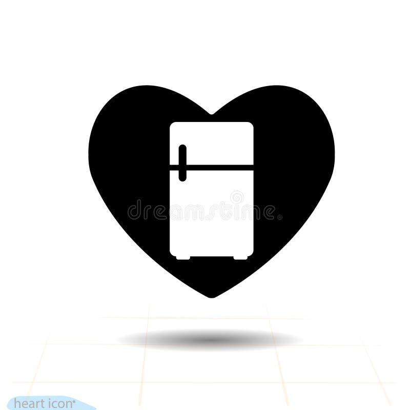 Icono del negro del vector del corazón, símbolo del amor - refrigerador en corazón La muestra del día de tarjetas del día de San  ilustración del vector