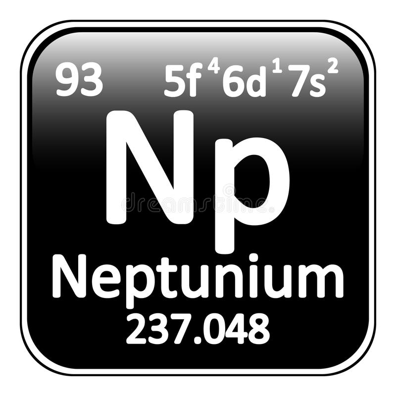 Icono del neptunio del elemento de tabla periódica ilustración del vector