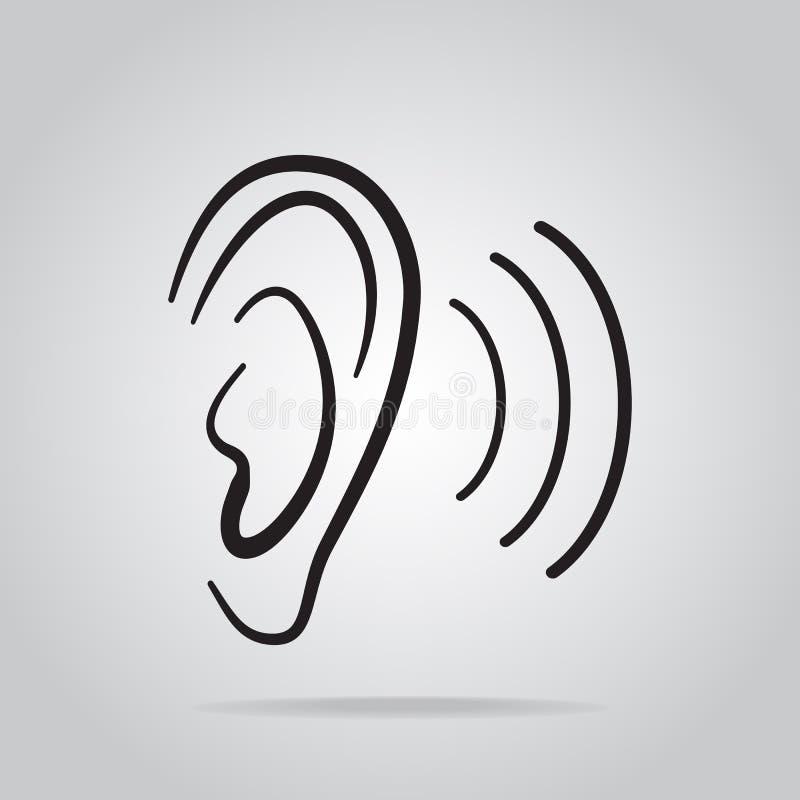 Icono del oído, audiencia e icono del oído stock de ilustración