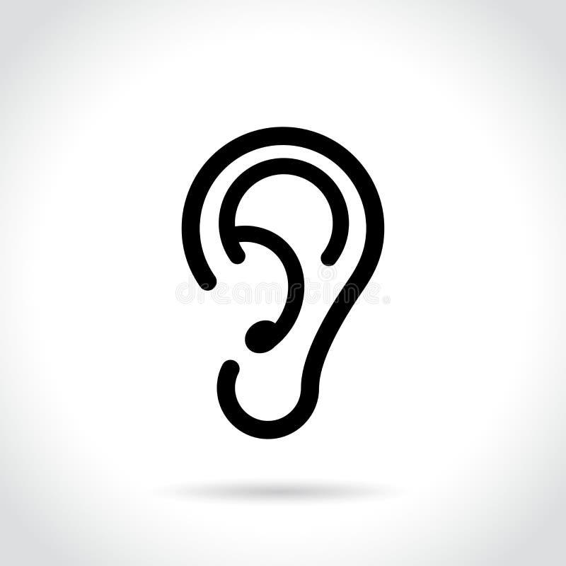 Icono del oído en el fondo blanco stock de ilustración
