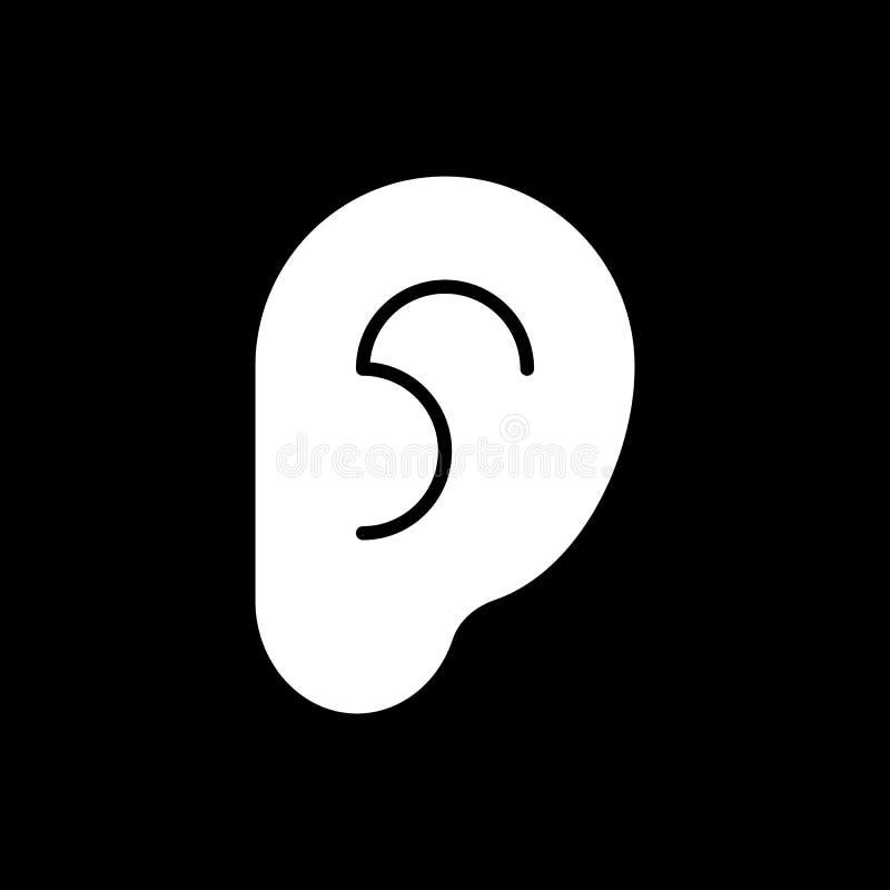Icono del oído en fondo negro Ilustración del vector ilustración del vector
