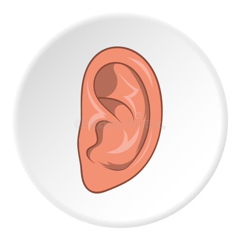 Icono del oído, estilo de la historieta ilustración del vector