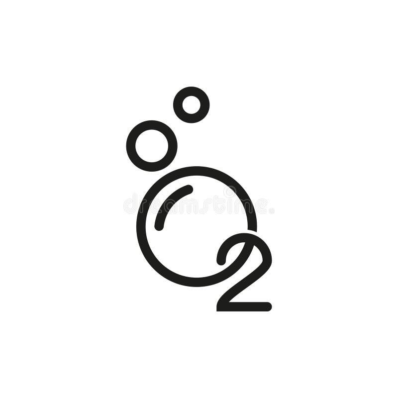 Icono del O2 del oxígeno, ejemplo En el fondo blanco ilustración del vector