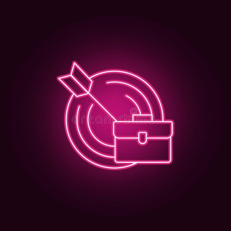 icono del objetivo comercial Elementos de la entrevista en los iconos de neón del estilo Icono simple para las páginas web, diseñ ilustración del vector