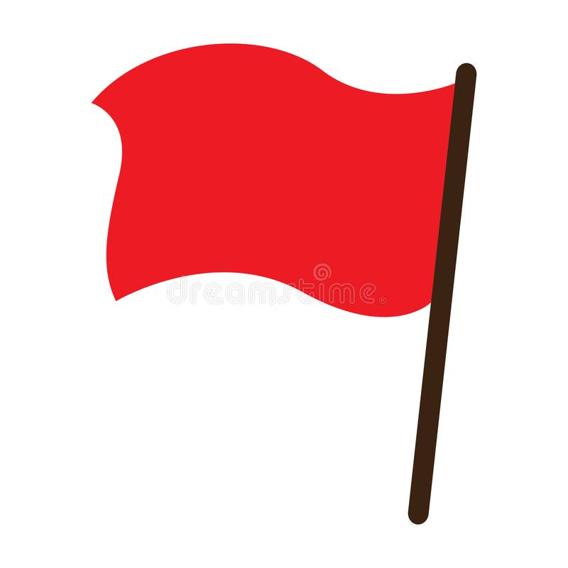 Icono del objeto del vector de la bandera roja stock de ilustración