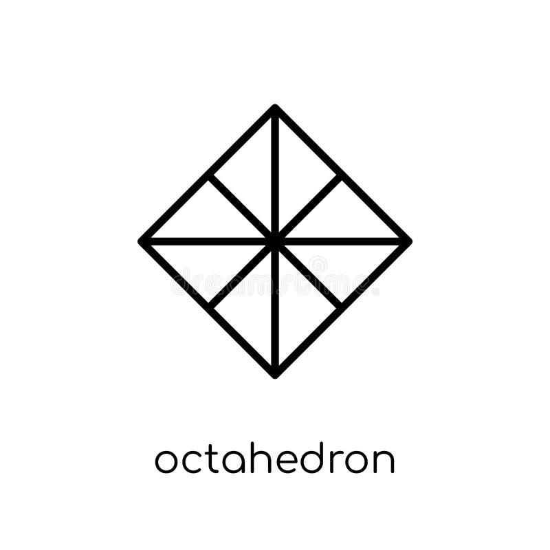 Icono del octaedro de la colección de la geometría ilustración del vector