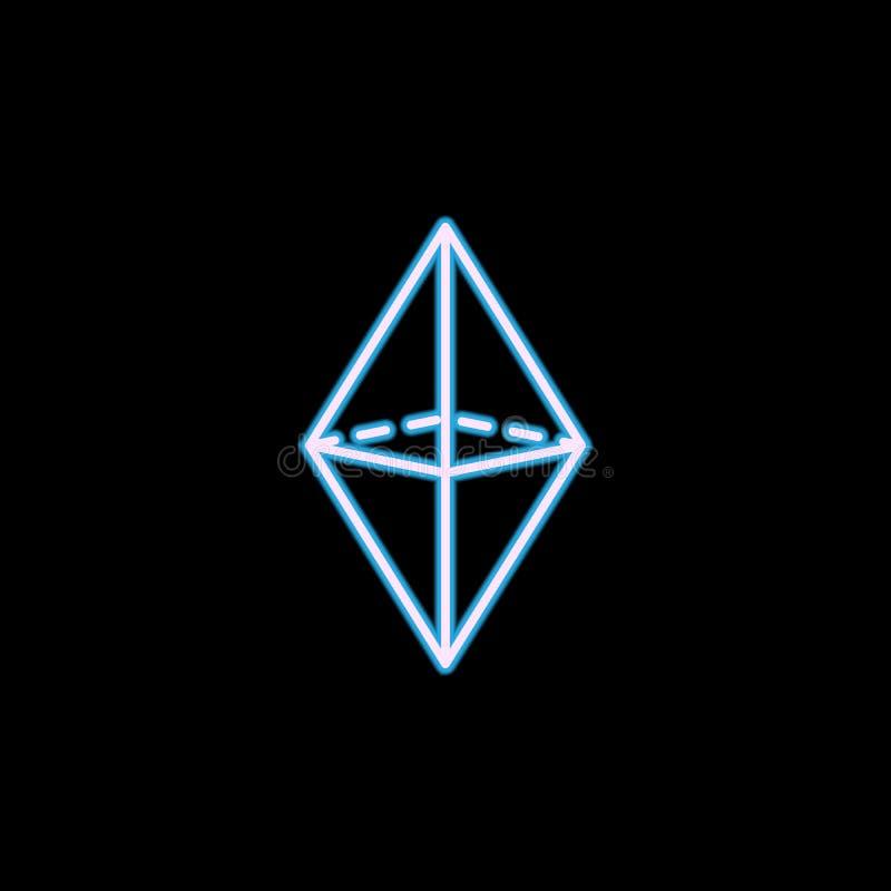 icono del octaedro en el estilo de neón Uno de la figura geométrica icono de la colección se puede utilizar para UI, UX ilustración del vector