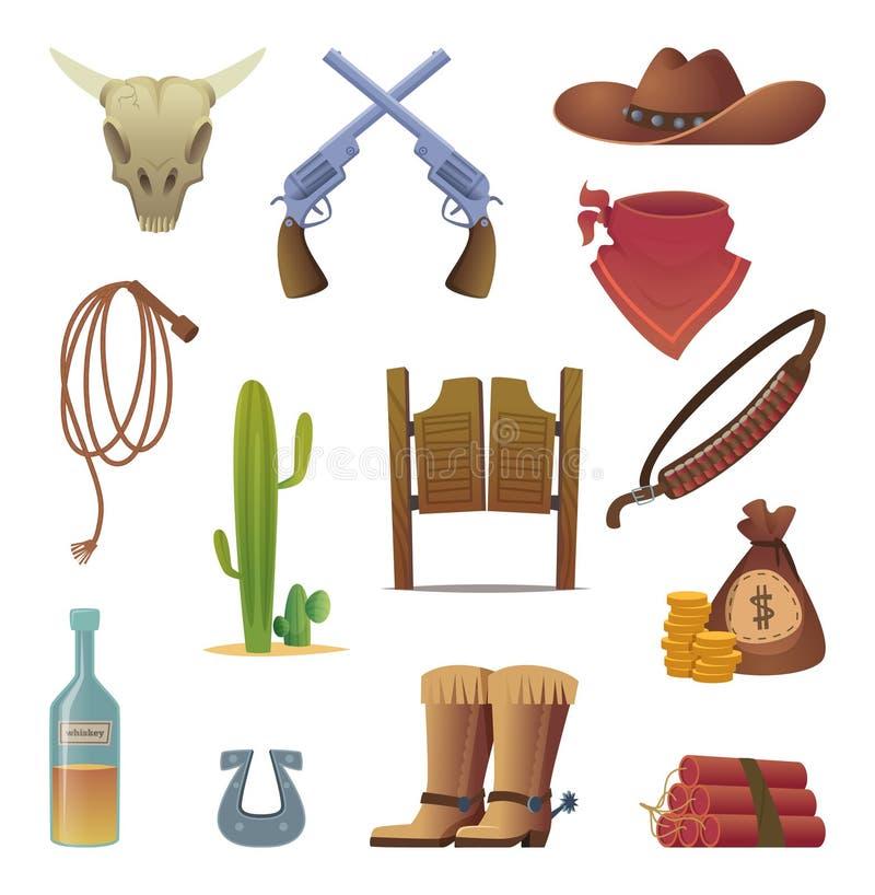 Icono del oeste salvaje Colección occidental de la historieta del vector del lazo del rodeo de las botas del salón de los símbolo stock de ilustración