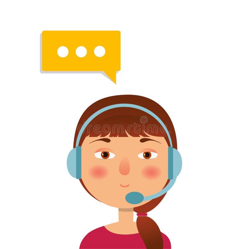 Icono del operador de centro de atención telefónica con las auriculares Avata femenino del centro de atención telefónica ilustración del vector