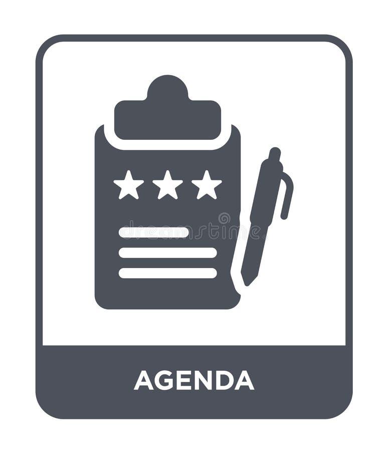 icono del orden del día en estilo de moda del diseño Icono del orden del día aislado en el fondo blanco símbolo plano simple y mo ilustración del vector