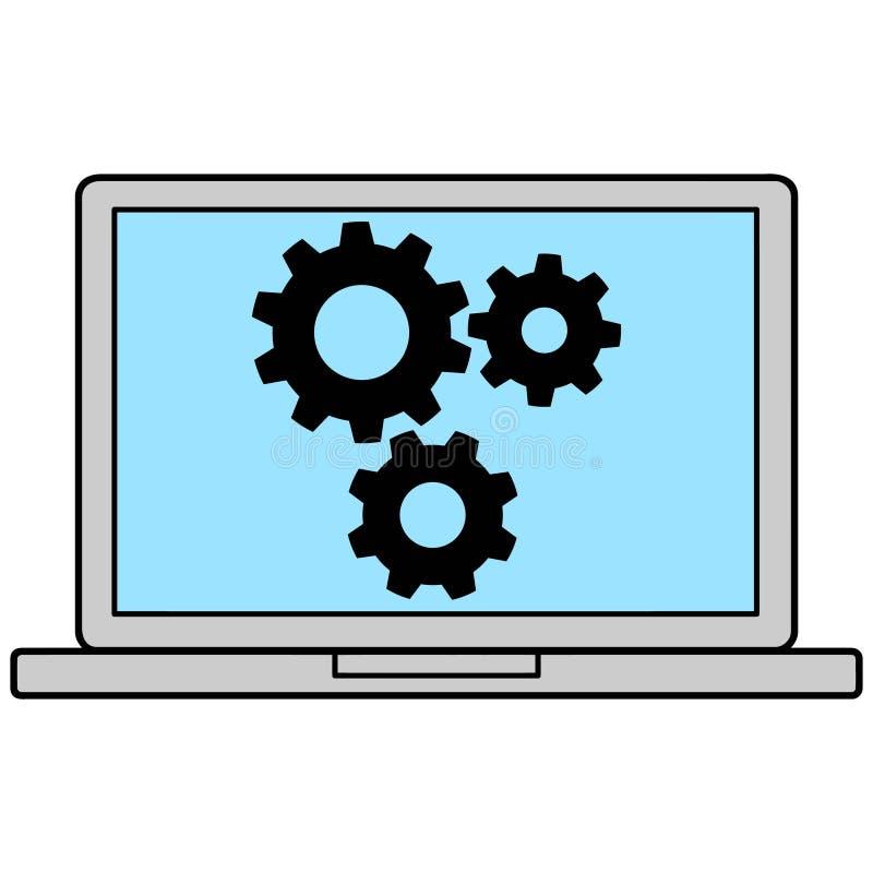 Icono del ordenador portátil con los engranajes ilustración del vector