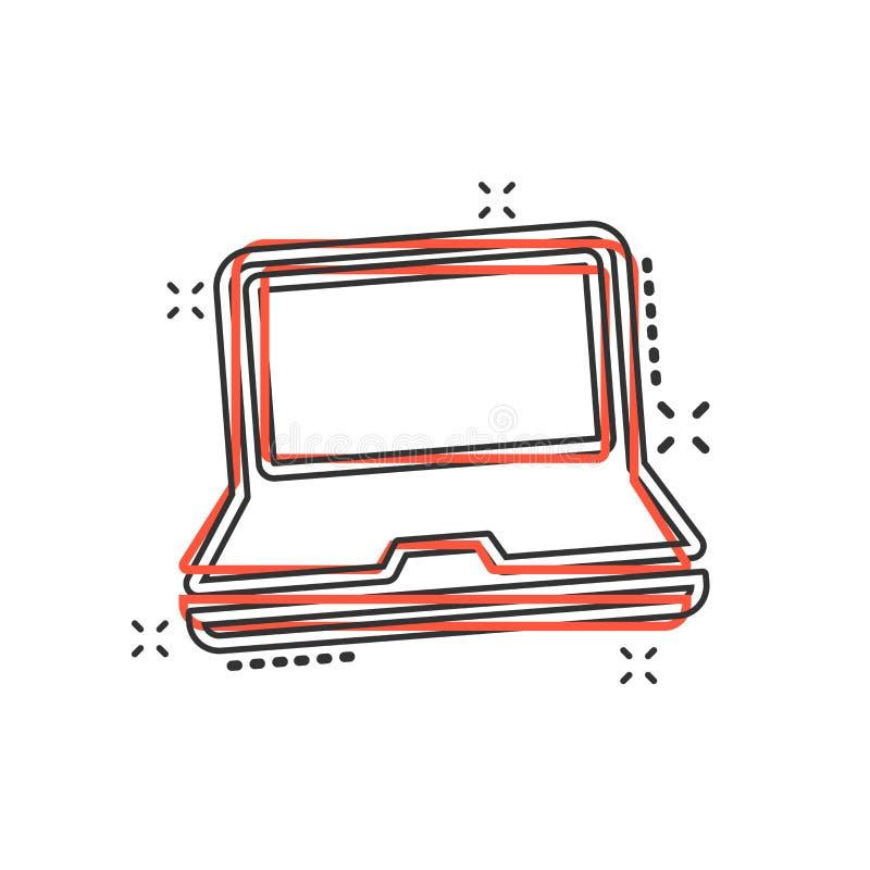 Icono del ordenador portátil de la historieta del vector en estilo cómico Sig del cuaderno stock de ilustración