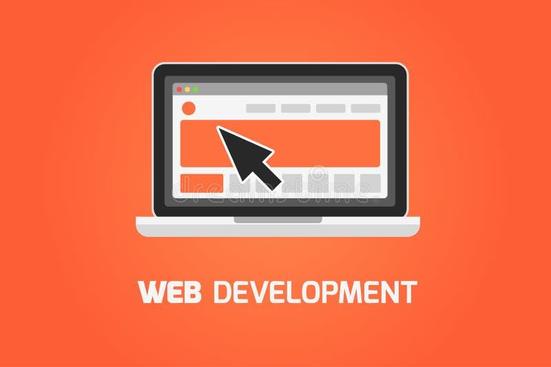 Icono del ordenador portátil del desarrollo web Cree el sitio web libre illustration