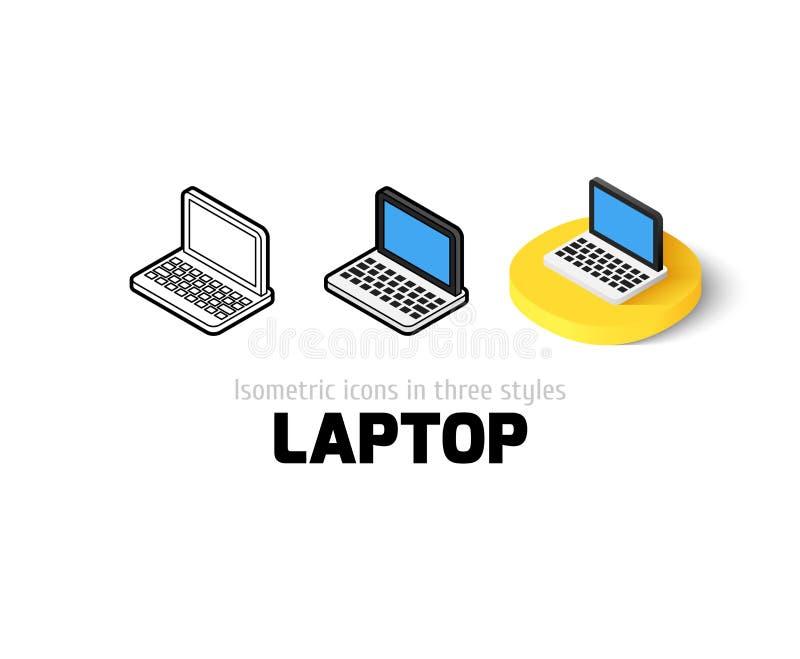 Icono del ordenador portátil en diverso estilo ilustración del vector