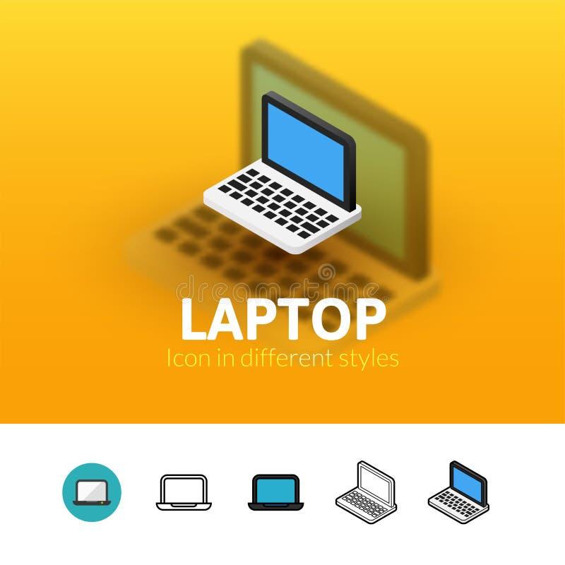 Icono del ordenador portátil en diverso estilo stock de ilustración