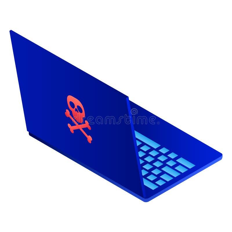 Icono del ordenador portátil del pirata informático, estilo isométrico ilustración del vector
