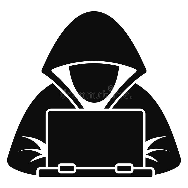 Icono del ordenador portátil del pirata informático, estilo simple libre illustration