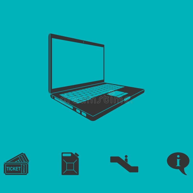 Icono del ordenador portátil plano stock de ilustración