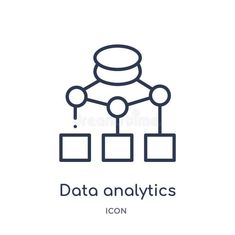 icono del organigrama del analytics de los datos de la colección del esquema de la interfaz de usuario Línea fina icono del organ ilustración del vector