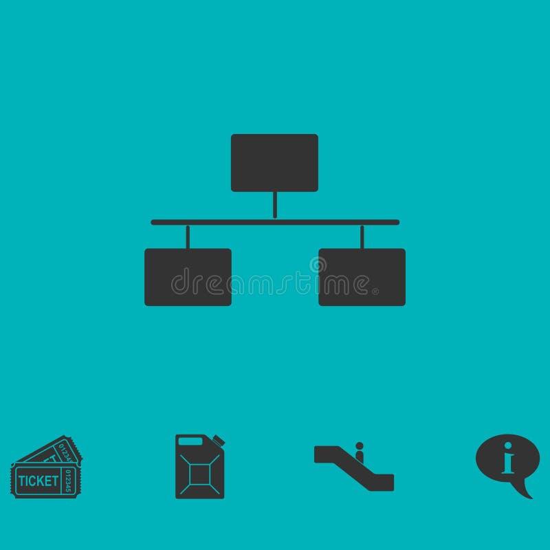 Icono del organigrama plano ilustración del vector