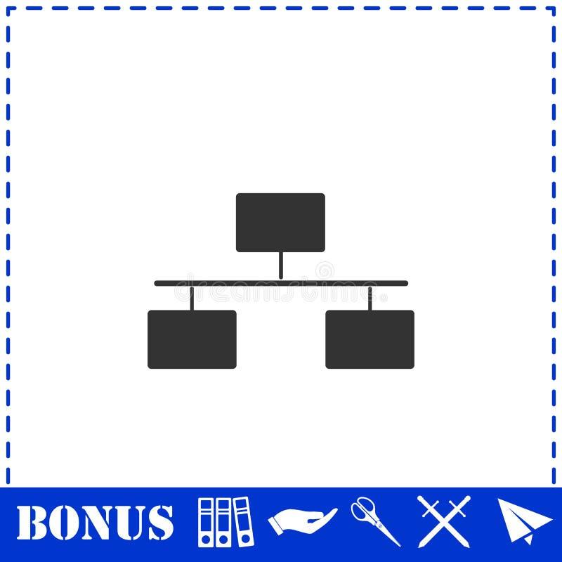 Icono del organigrama plano stock de ilustración