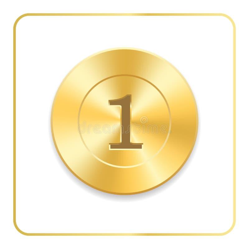 Icono del oro del premio del sello Medalla en blanco aislada en el fondo blanco Sello para el diseño Emblema de oro Símbolo de la ilustración del vector