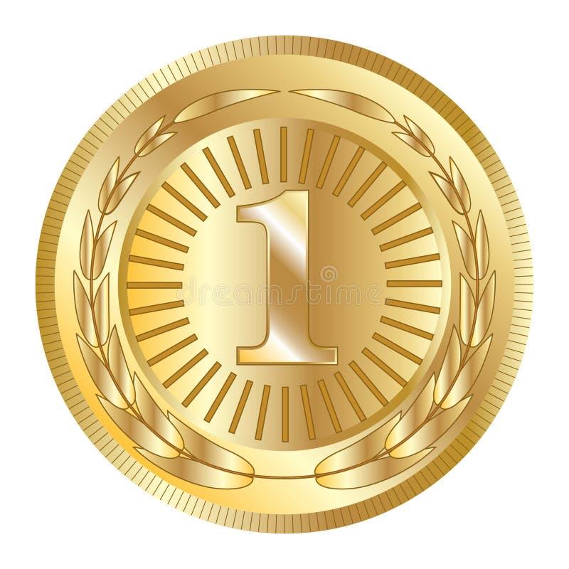 Icono del oro del premio del sello Medalla en blanco con la guirnalda del laurel, aislada Emblema de oro del diseño Símbolo de la stock de ilustración