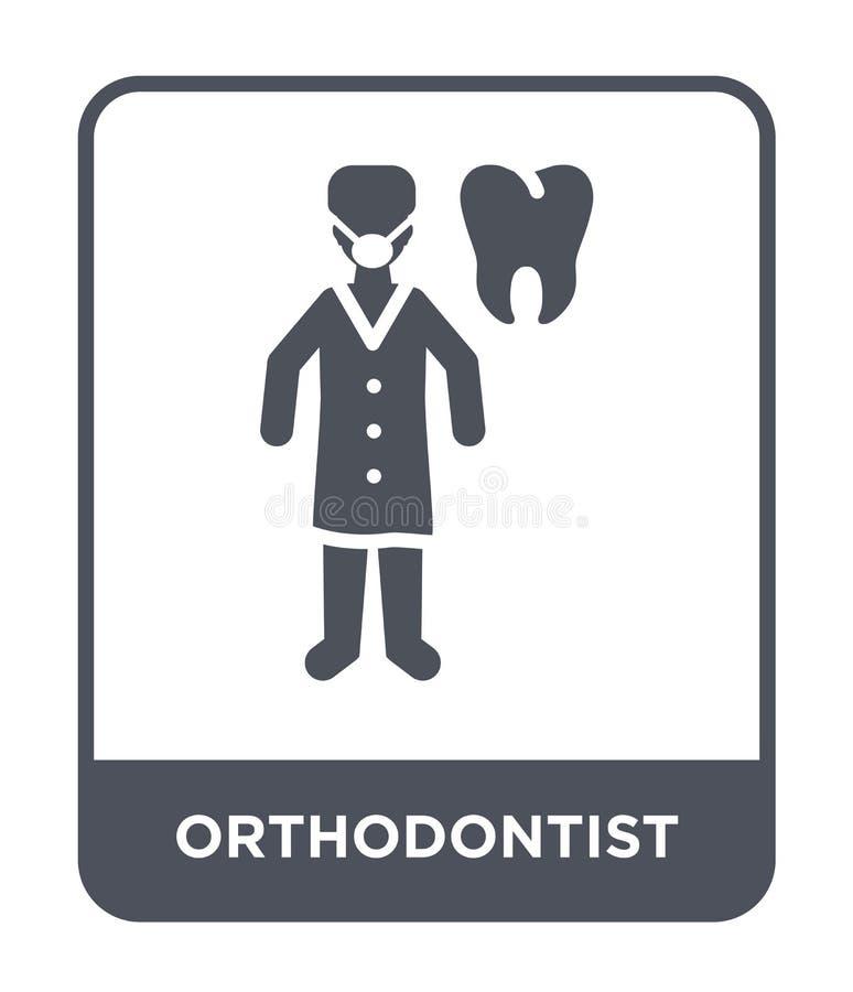 icono del orthodontist en estilo de moda del diseño icono del orthodontist aislado en el fondo blanco icono del vector del orthod stock de ilustración