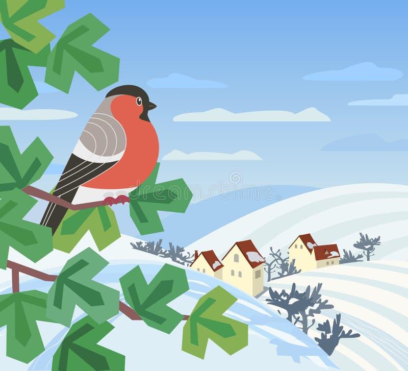 Icono del pájaro del invierno stock de ilustración