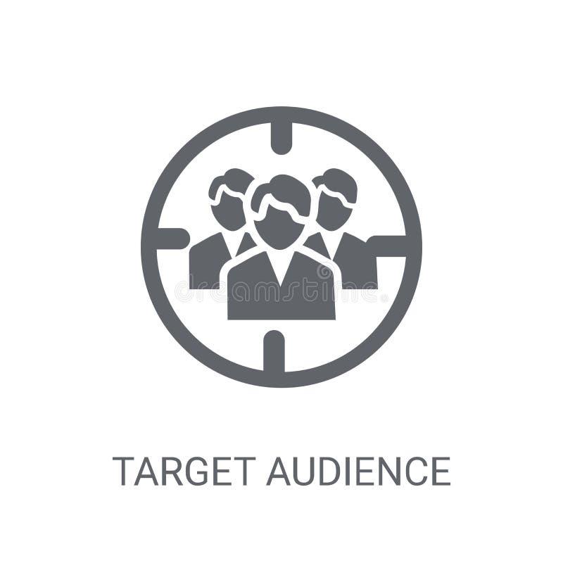 Icono del público objetivo Concepto de moda del logotipo del público objetivo en whi stock de ilustración