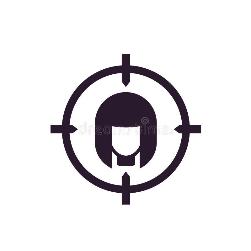 Icono del público objetivo en blanco stock de ilustración
