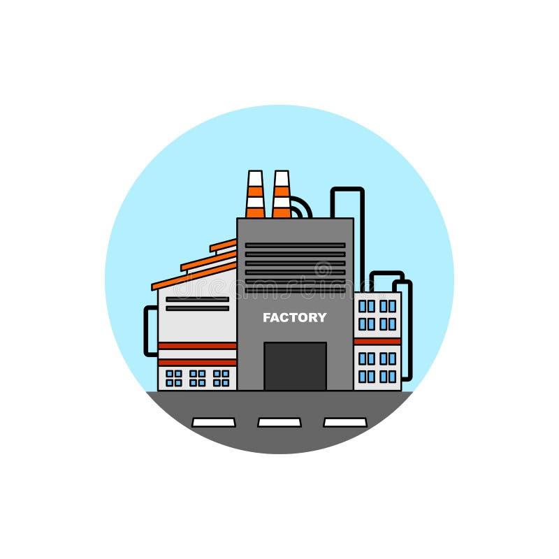 Icono del paisaje urbano del edificio de la fábrica ilustración del vector