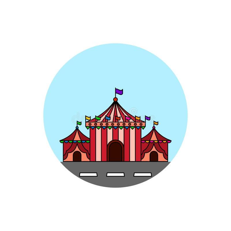 Icono del paisaje urbano del edificio de la tienda de circo ilustración del vector