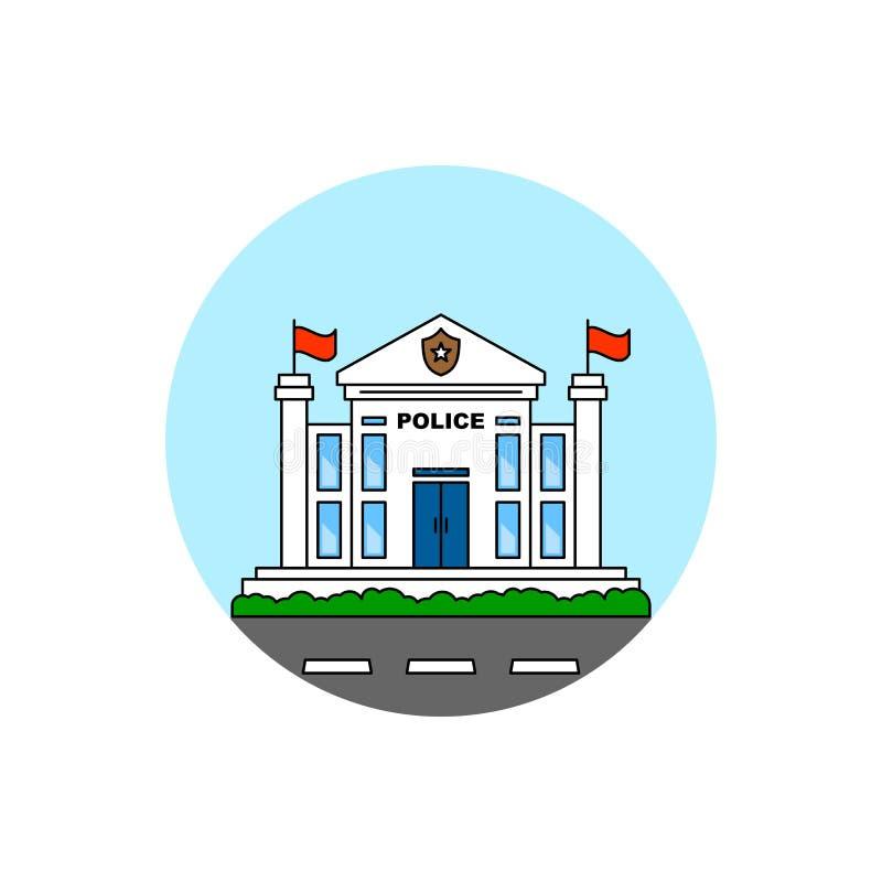 Icono del paisaje urbano del edificio de oficinas de policía stock de ilustración