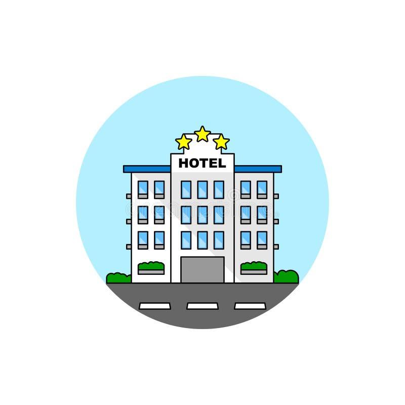 Icono del paisaje urbano del edificio del hotel stock de ilustración
