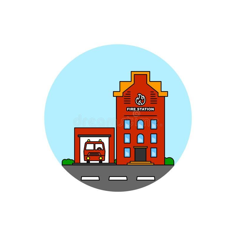 Icono del paisaje urbano del edificio del resque del fuego stock de ilustración