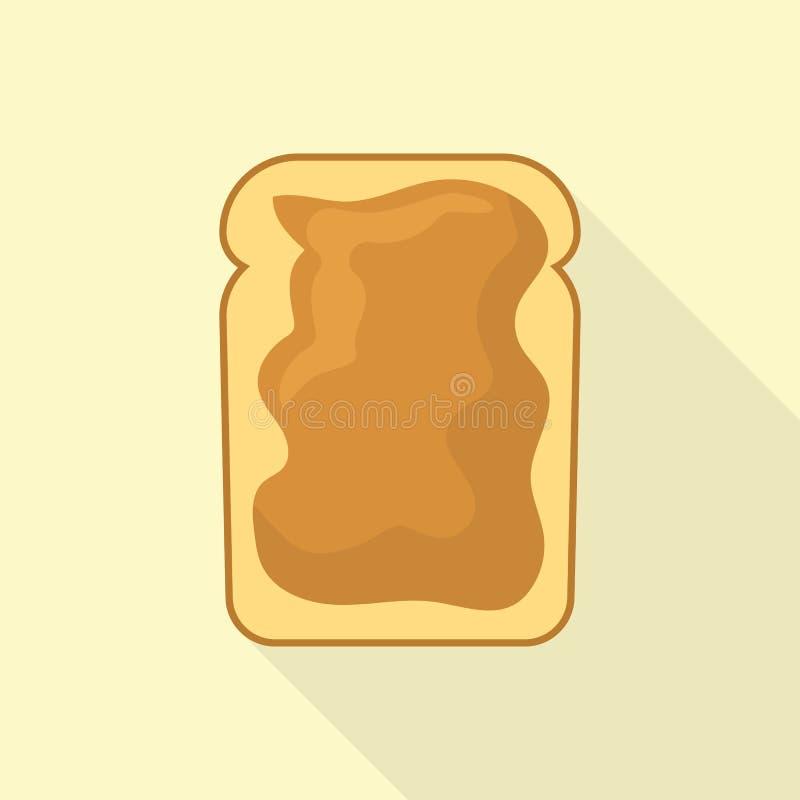 Icono del pan de la mantequilla de cacahuete, estilo plano ilustración del vector