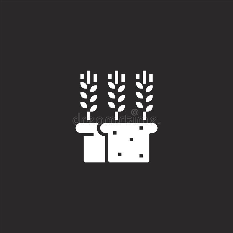 Icono del pan Icono llenado del pan para el diseño y el móvil, desarrollo de la página web del app el icono del pan de la colecci stock de ilustración