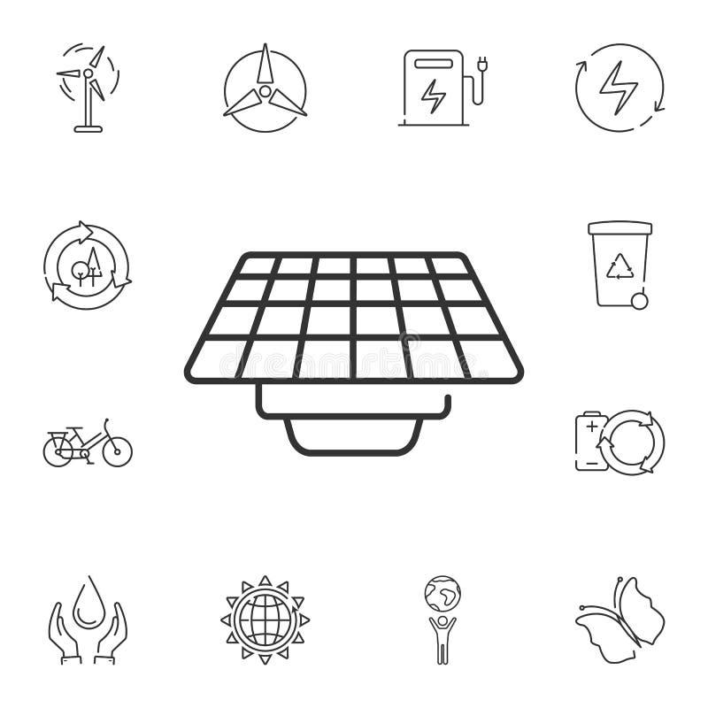 Icono del panel solar Ejemplo simple del elemento Diseño del símbolo del panel solar del sistema de la colección de la ecología P libre illustration
