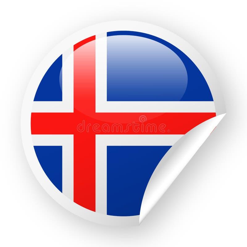 Icono del papel de esquina redonda del vector de la bandera de Islandia stock de ilustración