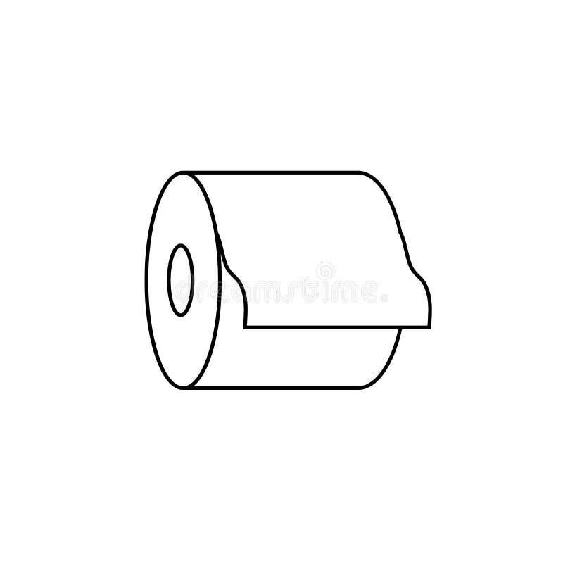 Icono del papel higiénico del vector, ejemplo blanco y negro del esquema, muestra de las toallas de papel ilustración del vector