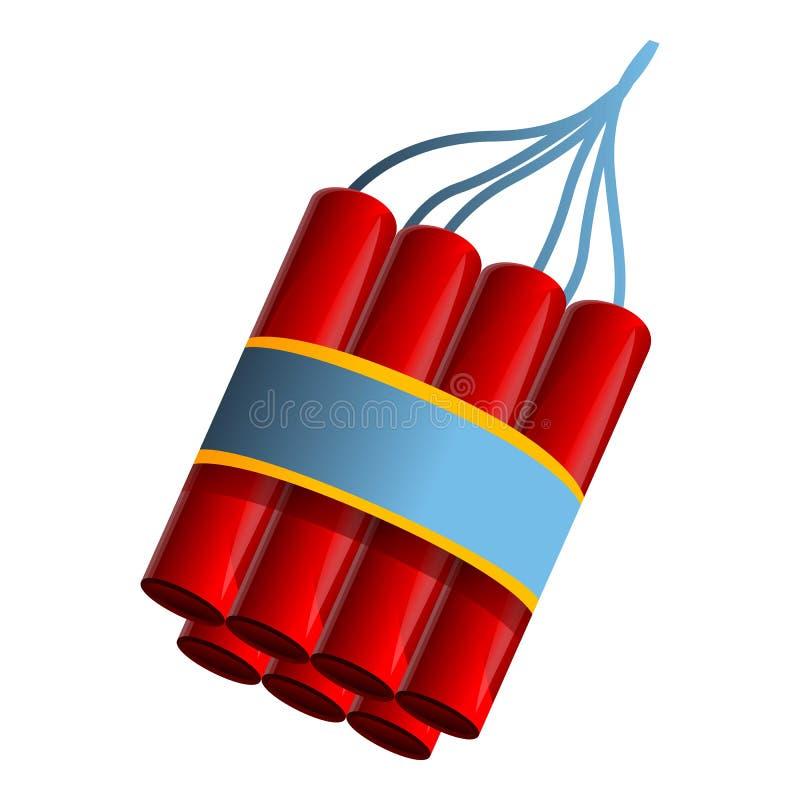 Icono del paquete de la dinamita, estilo de la historieta stock de ilustración