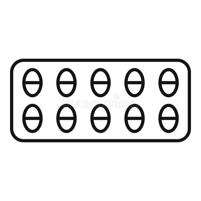 Icono del paquete de la píldora de dolor, estilo del esquema stock de ilustración
