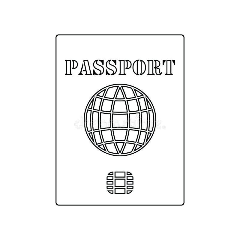 Icono del pasaporte con el microprocesador ilustración del vector