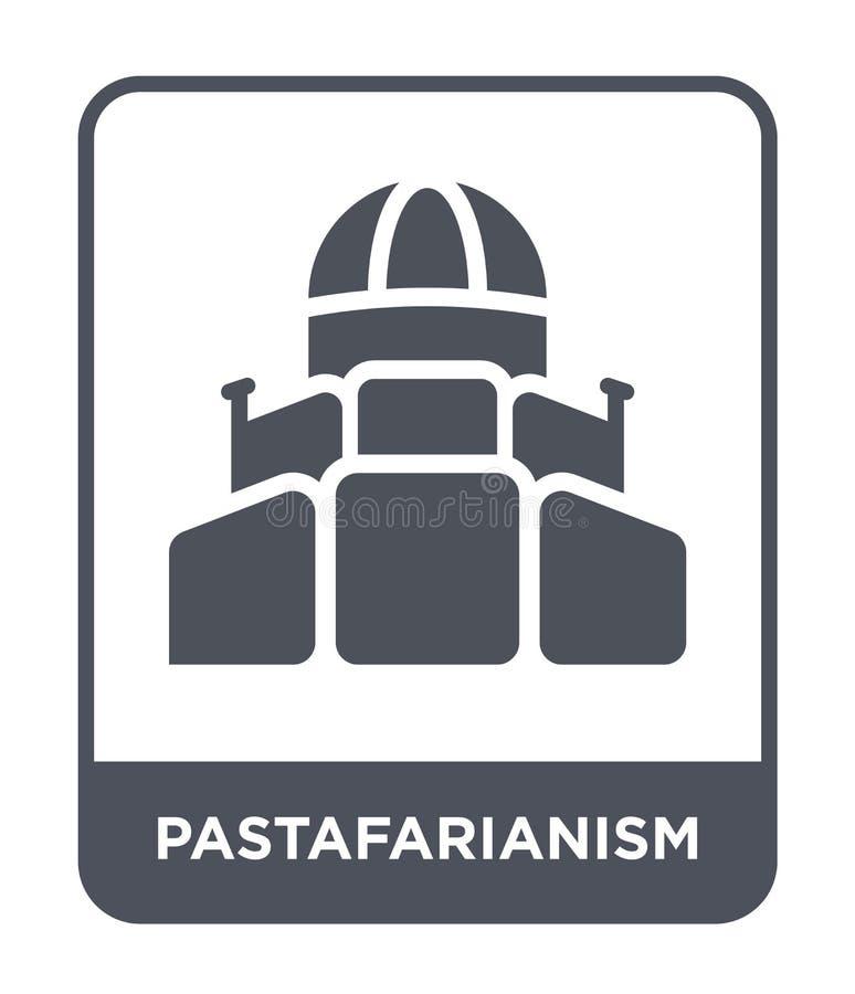 icono del pastafarianism en estilo de moda del diseño icono del pastafarianism aislado en el fondo blanco icono del vector del pa stock de ilustración