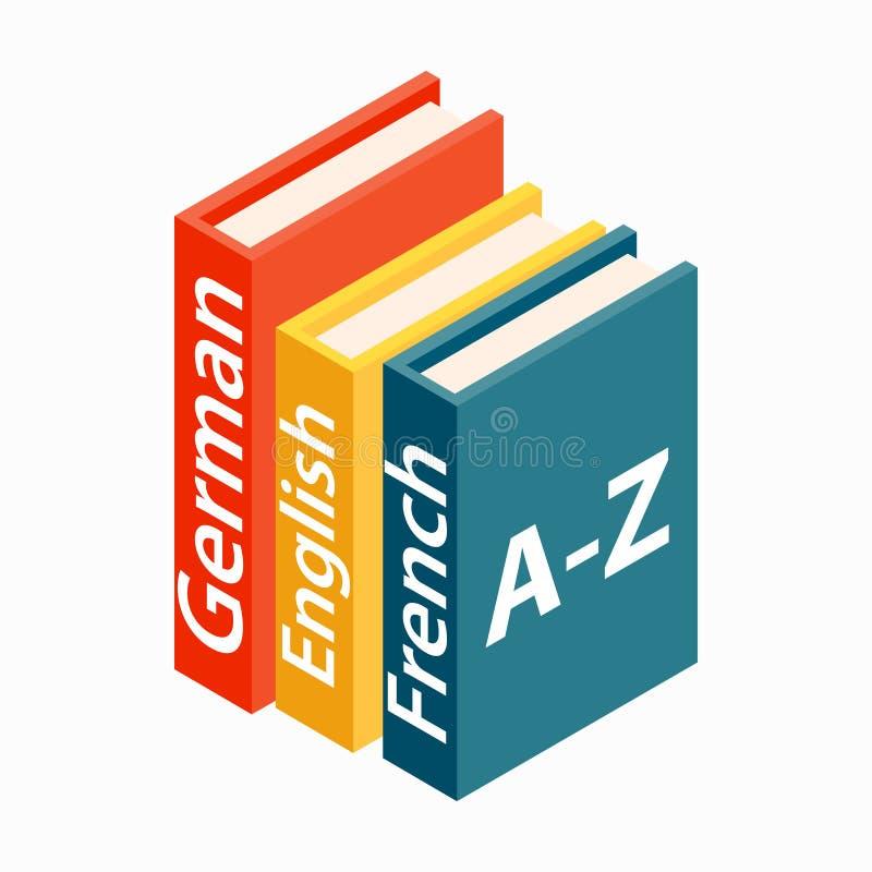 Icono del patán de los diccionarios, estilo isométrico 3d ilustración del vector