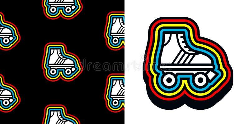 Icono del patín de ruedas de los años ochenta con el marco colorido ilustración del vector